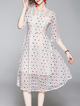 Lace Panel Embroidery Large Hem Dress