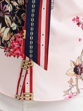 Contrast Color Bow Flower Printed Blouse