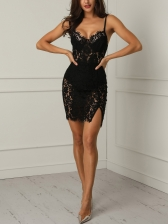 Night Club Deep V Neck Lace Panel Bodycon Dress