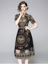Gauze Patchwork Printed Fitted Midi Dresses