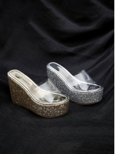 Fashion Perspective Sequined Decor Wedges Slippers