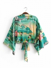 Kimono Flower Printed Lace Up Cardigan 2 Piece Sets
