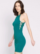 Sexy Solid Color Backless Tie-wrap Mini Dress