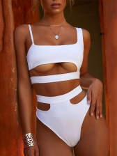 Sexy Solid Color Hollow Out Two Piece Swimsuits