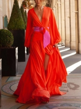 Deep V Neck Tie-Wrap Split Floor Length Maxi Dress