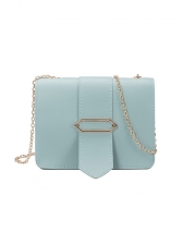 Korean Style Hasp Solid Chain Crossbody Bag