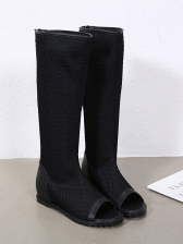 Hollow Out Black Flat Mid Calf Boots For Women
