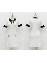 Korean Doll Collar Pockets Patchwork Knitting Dress