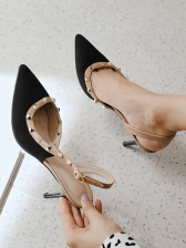 Fashion Rivet Patchwork Pointed High Heels