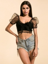 Sexy Lace Puff Sleeve Bow Cropped Top