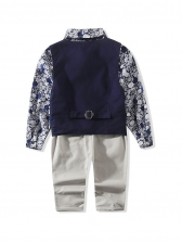 Long Sleeve Floral Print 3 Pieces Sets For Boys