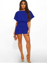 Matching Solid Color Tie Wrap Women Romper