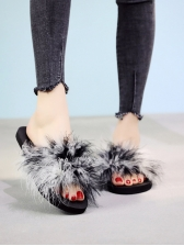 Contrast Color Fuzzy Birds Feather Flat Slippers