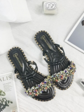 Rhinestone Decor Slip On Sandal Shoes For Women