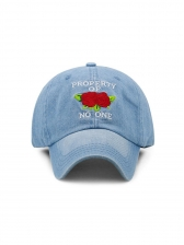 Washed Denim Letter Rose Printed Baseball Cap