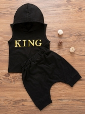 Letter Hooded Collar Baby Boy 2 Pieces Shorts Set