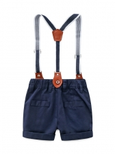 Turndown Collar Bow Short Overall Outfit For Boy