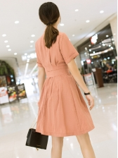 Solid Lapel Collar Double-breasted A-line Dress