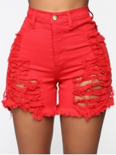 Summer Red Ripped Short Jeans For Women