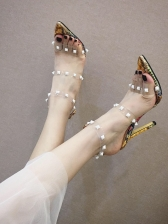 Pointed Toe Rivet Patchwork Clear High Heel
