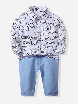 Letter Printed Boys Two Piece Pants Set