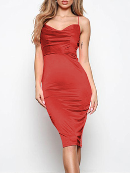 Sexy V Neck Solid Satin Spaghetti Strap Dress