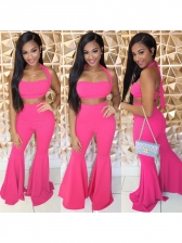 Euro Solid Color Flare Pants Two Piece Outfits