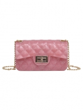 Candy Color Twist Lock Rhombus Bag For Women