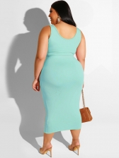 Plus Size Solid Tie-Wrap 2 Piece Midi Skirt Outfit