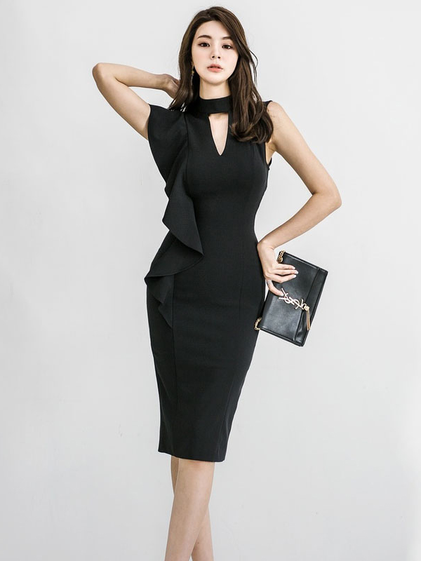 Ladies Mock Neck Ruffles Fitted Black Dress