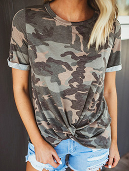 Crew Neck Camouflage Short Sleeve Twist Tee