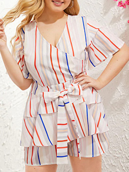 Plus Size V Neck Tie-Wrap Striped Romper