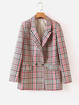 Fashion Plaid Two Button Long Sleeve Blazer