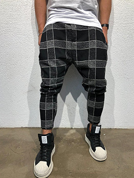 Casual Plaid Long Pants For Men