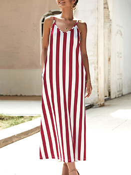 Simple Leisure Striped Shoulder Straps Maxi Dresses