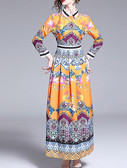 Trendy Easy Matching Printed Long Sleeve Maxi Dresses