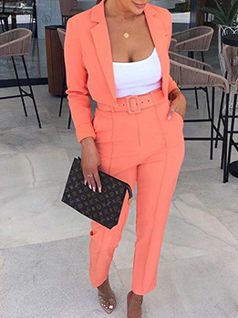 Fashion Solid Color Long Sleeve Blazer 2 Piece Outfits