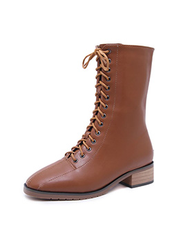 Euro Solid Color Mid Calf Martin Boots For Women