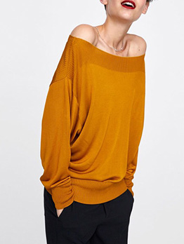 Euro Off Shoulder Solid Color Knitted Pullovers