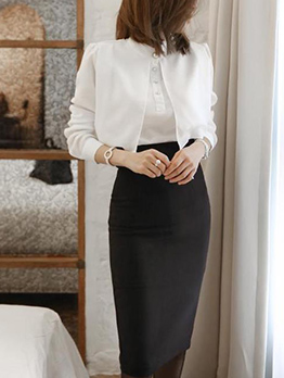 Ol Style Long Sleeve Blouse With High Waist Skirt