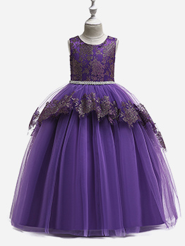 Fluffy Tulle Binding Bow Girls Party Dress