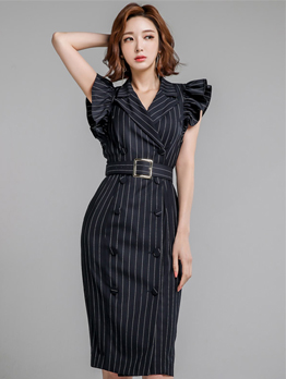 Elegant Striped Cap Sleeve Dress