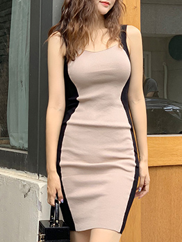 Contrast Color Fitted Knitting Sleeveless Dress