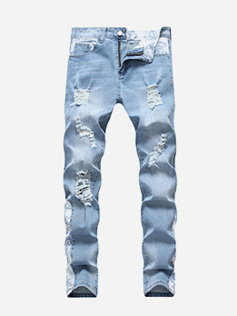 Casual Mid Waist Fitted Mens Distressed Jeans