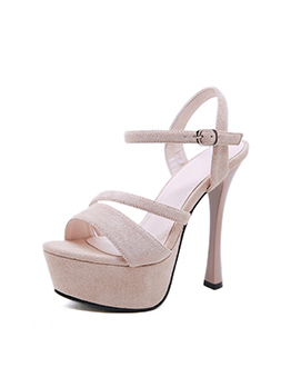 Sexy Solid Color Suede Ankle Strap Platform High Heels