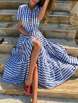 Turndown Collar Striped Short Sleeve Vacation Dresses