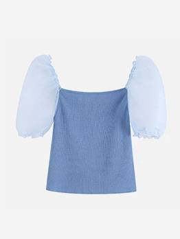 Square Neck Puff Sleeve Fitted Knitting Top