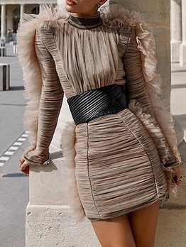 Fashion Stand Collar Gauze Patchwork Long Sleeve Boutique Dress