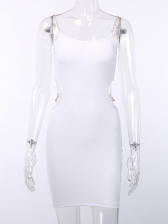 Sexy Solid Hollow Out Chain Strap Dress