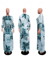 Single-Breasted Tropical Print Split Hem Maxi Dress